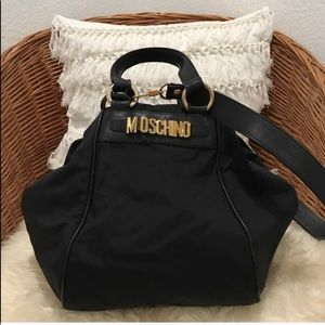 Moschino black canvas crossbody handbag